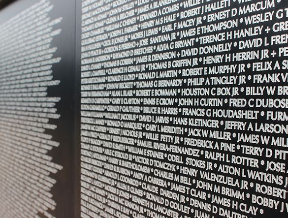 Names etched on a memorial plaque