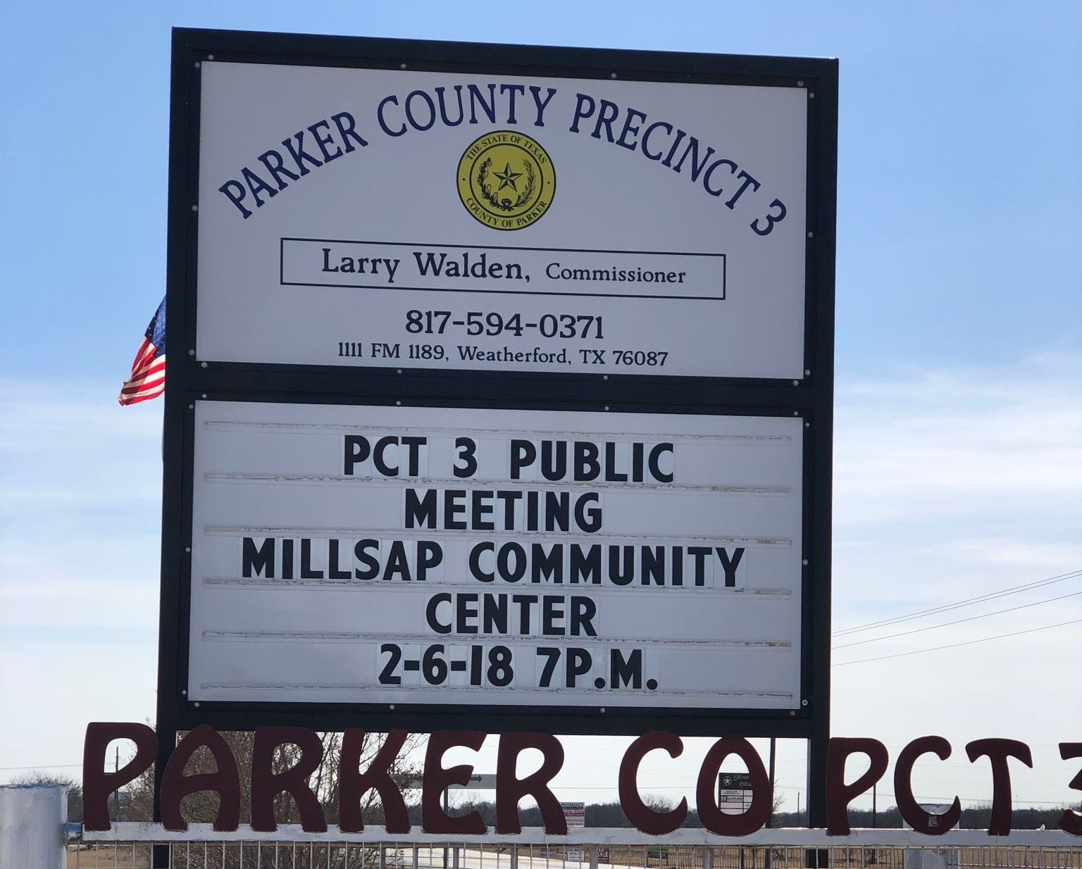Image Of A Sign Regarding Upcoming Precinct 3 Public Meeting