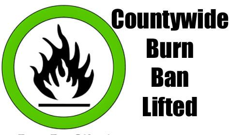 Image of a graphic that says countywide-burn-ban-lifted