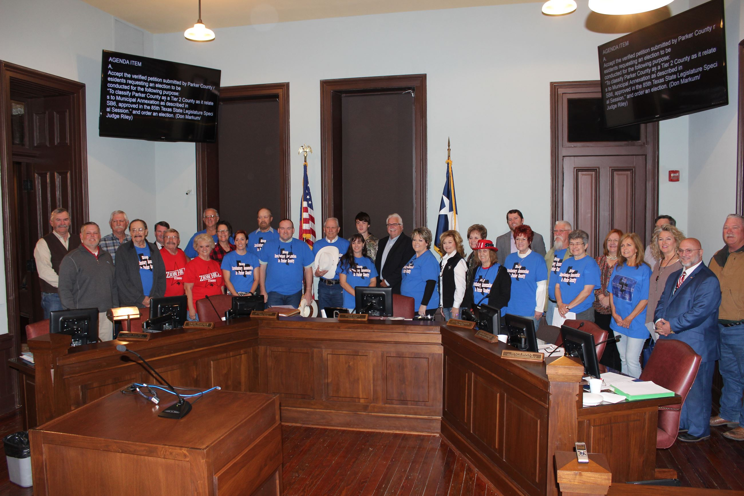 Image of Stop Zion Hill Annexation group with Commissioners Court