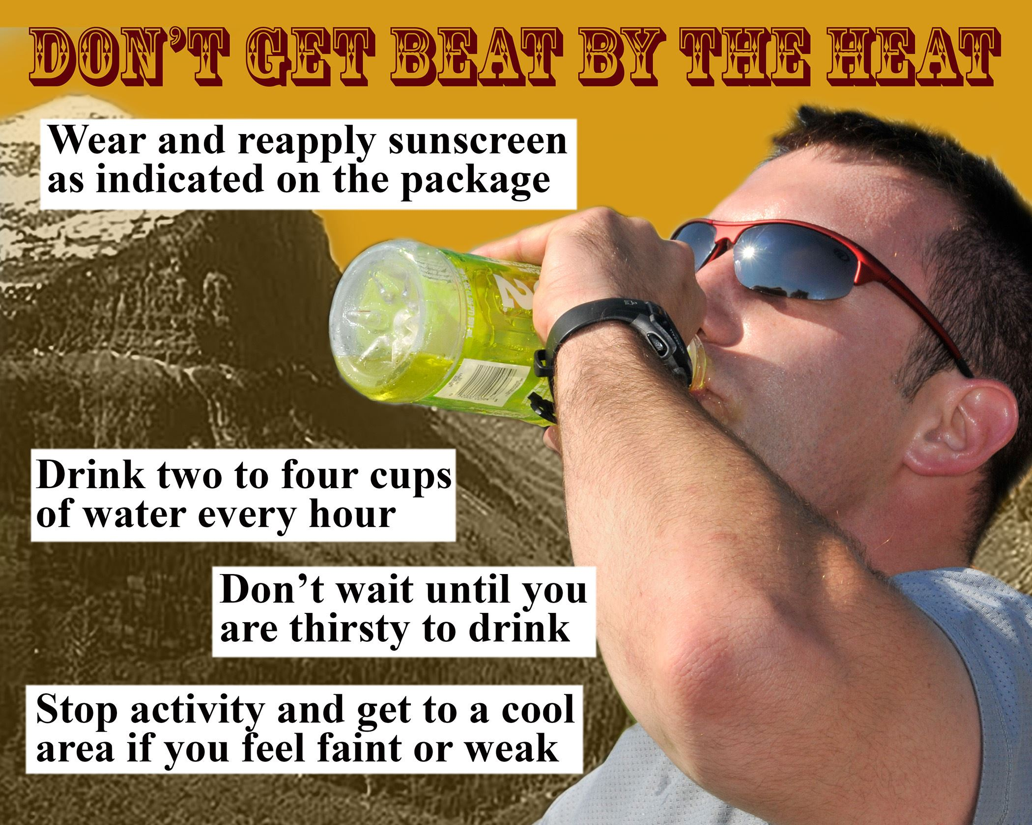 image of a man drinking water and displaying summer heat tips