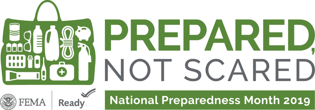 Image that says Prepared Not Scared in regards to September Preparedness Month