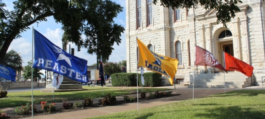 School Flags on Courthouse Lawn
